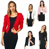 Womens Ladies Shrug Ruched Sleeve Coat Tailored Blazer Jacket Party Formal Top