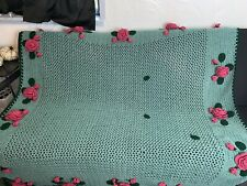 "Vintage Hand Crocheted Green Blanket W/3D Pink Roses Flowers Afghan 68""x78"""