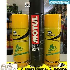 2 x 400ml Grasso Catena Bardahl Foamy Chain Lube + Motul C1 Chain Clean 400ml