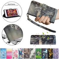 For Huawei Y5 Y6 Y7 Y9 2018 3D Painted Leather Flip Stand Card Wallet TPU Cover