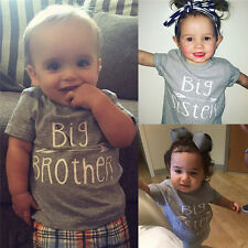 Family Sping Cotton Clothes Baby Boys Girls Kids Brother & Sister T-shirt Tops F