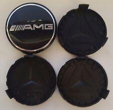 4x Black AMG Fits MERCEDES BENZ 75mm ALLOY WHEEL BADGES CENTRE CAPS