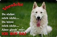 Weißer SCHÄFERHUND - A4 Alu Warnschild Hundeschild SCHILD Türschild - WSS 05 T2