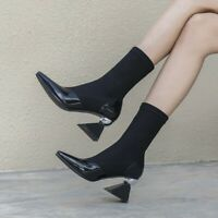 Vintage Runway Real Leather Womens Metal High Heel Pointy Toe Ankle Boots Shoes