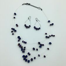Women's Ladies Clear String Purple Bead Necklace And Earring Set