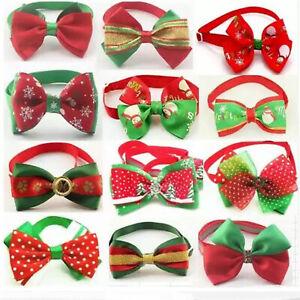 UK Christmas Pet Bow Tie Collar Bowtie Adjustable Xmas Dog Cat Puppy Kitten UK