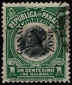 Canal Zone - 1915 - 1 Cent Green & Black Overprinted Issue # 46 w Light Cancel