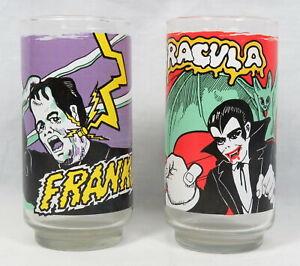 Lot 2 Vintage Dracula Frankenstein Tumbler Glasses Universal City Studios 1980