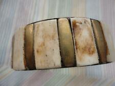 Horn bone cream 65 mm across inside 51 gram 24 mm wide gold-plated bangle