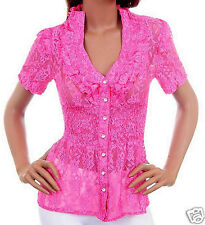 SIZE 10 LADIES SUMMER LACY TOP PINK RHINESTONE BUTTONS CLUB PARTY NWT