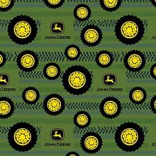 Fabric John Deere Tires on Green Flannel by the 1/4 yard BIN