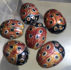 6 Cloisonne Ladybug Beads Vintage  17 Mm long #280