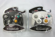Old Skool Black & White Wired Dual Analog Controller Set for Game Cube and Wii