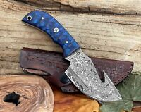 Custom Pocket Knife Damascus Steel Full Tang Gut Hook Fixed Blade Wood Handle