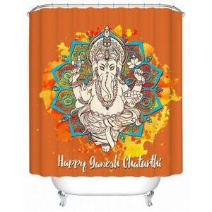Mandala Ganesh Elephant Animal Modern Bathroom Waterproof Bath Shower Curtain