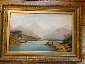 LOCH MORAR - ENGLISH SCHOOL LARGE 19thC OIL ON CANVAS