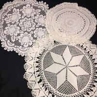 "Vintage Hand Crocheted Doilies Lot of 3 Large White Ivory 17""-23"" Rd Cottage EUC"