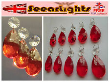 10 CHANDELIER PARTS CUT GLASS CRYSTALS ANTIQUE RED DROPS OVAL PRISMS LIGHT BEADS