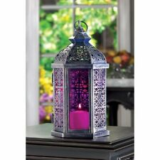 12 Moroccan Style Lanterns Pewter Finish Pinkish Purple Stained Glass