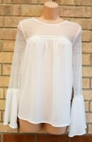 LIPSY WHITE LACE NECK LONG FLARE SLEEVE BAGGY PARTY TUNIC TOP BLOUSE SHIRT 10 S