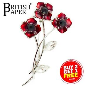 NEU große rote Rose Anemone Blume Emaille Kristall Pin Back Strass Brosche + Box