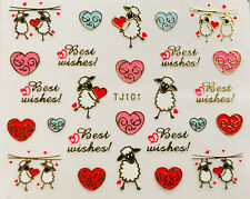 Nail Art 3D Decal Stickers Valentine's Day Best Wishes Sheep Hearts Tj101