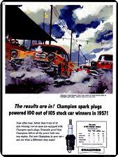 "1957 Champion Spark Plugs Nascar 9"" x 12"" Sign"