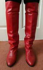 Rare Italian Red Leather Pull On Slouch Over Knee Boots size Eur36/UK3