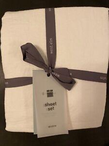 West Elm Queen Size White European Flax Linen Sheet Set $250- Same Day Free Ship