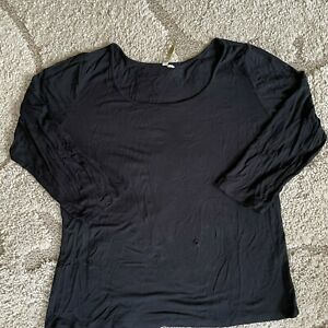 COMFY USA Womens Black Long Sleeve Scoop Neck Pullover Top Size XL