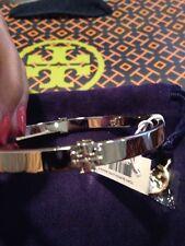 NWT Tory Burch Signature Logo Thin Silver Tone Bangle Bracelet  30% OFF LIST!