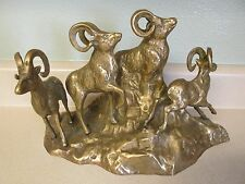 4 MOUNTAIN SHEEP RAMS ON A MOUNTAIN BRASS WESTERN HUNTING DECOR STATUE!
