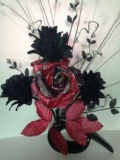 Artificial Silk Flower Arrangement In Red, Black & Silver in Modern Shaped Vase