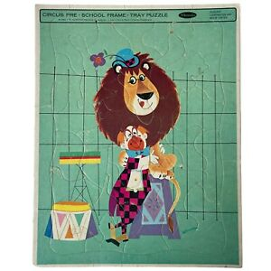 Vintage Circus Pre-School 1964 Lion Embracing Trainer Whitman Frame Tray Puzzle