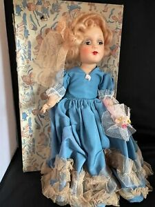 Vintage Composition  Doll  In Blue Dress Flower in Box