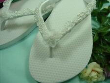 "Wedding Shoes Sandals Flip FLops White ""Alise"" Size 7/8"