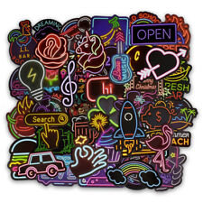 50Pcs Neon Light Signs Waterproof Stickers for DIY Skateboard Laptop Luggage Car