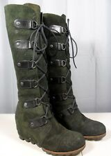 Womens Sorel Joan Of Artic Tall Wedge Boots Knee High Lace Up Rare Forest Green.