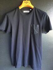 Ben Sherman Cotton T-shirt, Black, Houndstooth Pocket, Size S