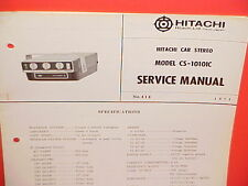 1971 HITACHI 8-TRACK STEREO TAPE PLAYER FACTORY SERVICE MANUAL MODEL CS-1010IC