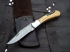 "DKC-771 Chabot Damascus Steel Folding Laguiole Pocket Knife 4.5 oz 8.5"" long 3.5"