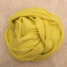 Light Yellow Pure Cashmere Wool Scarf Shawl Wrap Gift Fine Knit Nepal Handmade