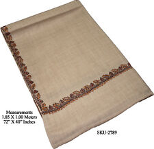 100% Pure Natural Wool Hand Embroidered Kashmir Shawl Wrap Scarf Throw 2789