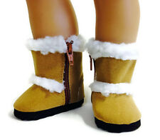 Tan Shearling Boot Shoes fits 18 inch American Girl Doll Clothes