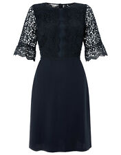 New MONSOON Rebecca Navy Blue Lace Dress Skater Party Dress Size 18 BNWT £99