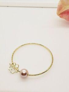 Pink Pearl Hibiscus Flower Charm Bangle Bracelet