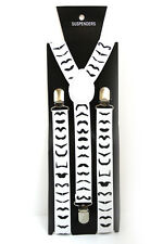 White Black Mustache Adjustable Braces Suspenders Mens Womens Fancy Dress 2.5cm