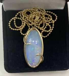 """14K Yellow Gold Women's 16CT Oval  Natural Opal Pendant Necklace Chain 18"""""""
