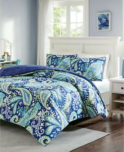 Intelligent Design Melissa Paisley Reversible 3-Pc Comforter Set FULL QUEEN Navy