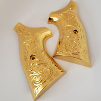 Custom Smith & Wesson Scroll Metal Grips - K-Frame Square Butt Gold Plated